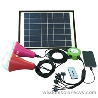 Salable CE Solar LED home lighting with 2 led lamps & cellphone charger