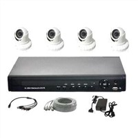 Security System with 4-channel 3G/Wi-Fi Function DVR and Dome IR Camera