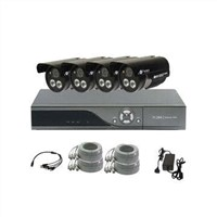 Security System with 4-channel H364 DVR and High-resolution Camera, 0.45 Gamma Correction