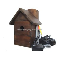 Wooden Bird House Camera with Night Vision Camera, Display Real-time Picture on TV with Sound