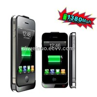 back power case for iphone4s with dual sims dual standby function 1380mAh