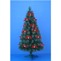 fiber-optical christmas trees with decorations