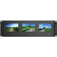 "new arrival! 5""x 3 triple rack mount HD monitor for professional broadcast"