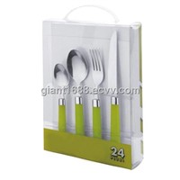 Plastic Handle Dinnerware Set with PVC Box