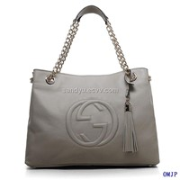 soho grey leather tote with double chain straps