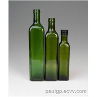 square glass olive oil bottle with screw cap