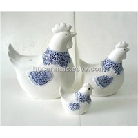 Ceramic Hens with Blue Scarf , Aniamil Figurines