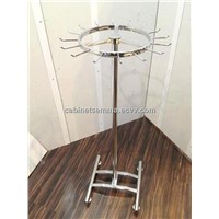 Metal Tie & Belt Display Stand Chromed Free Standing Metal Scarf Stand-Revolving