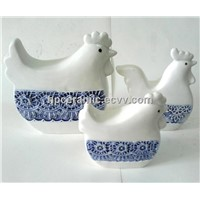 Square Shape Ceramic Hens, Animal Figurines
