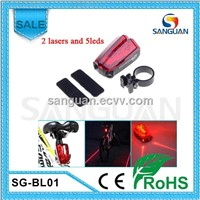 5xRed LED + 2xRED Laser Warning Bicycle Taillight with AAA battery