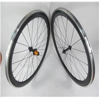 700C*60mm Carbon Bike Wheelset With Alloy Braking Surface Clincher