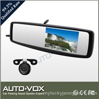 Car Backup Camera System with 4.3 Inches Rearview Mirror Monitor