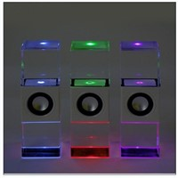 High powered mini led crystal usb speaker subwoofer, portable mp3 sound box