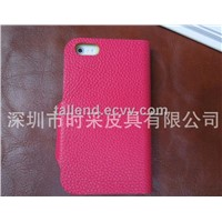 Mobile genuine leather case for iPhone4/4S iPhone5/5C/5S flip case