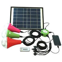 New CE solar home lighting with 3 LED lamps & cellphone charger
