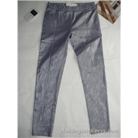 Ladies Cotton/Spandex Bright Coating Effect Pants-Hzj062