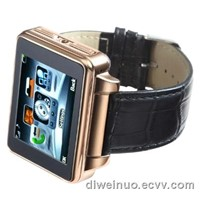 widescreen all-steel watch mobile phone with leather strap