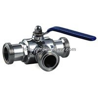 sanitary three ways ball valve