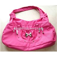 2013 Cheapest Pink Semi PU Double Zipper Women Handbags with Butterfly Knot on Ladies Shoulder Bags