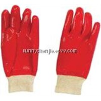 Red PVC coated/dipped work glove,Interlock liner knit wrist GSP0111R