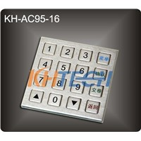 16 Keys stainless steel panel mount kiosk keypad
