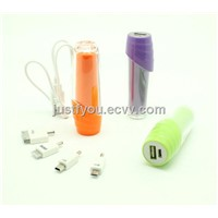2600mAh Portable Lipstick USB Power Bank for iPhone Samsung HTC