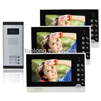 3-Apartments Video Door Bell 7inch TFT LCD Handfree intercom