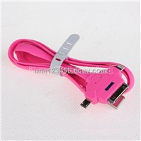 3 in 1 Multi-function Noodle USB Charger Cable For iPhone 4 5 and Samsung