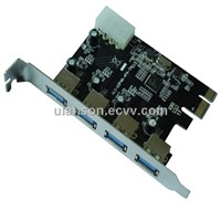 4-Port SuperSpeed USB 3.0 PCI-E PCI Express Card with Molex Power Connector (NEC720201)