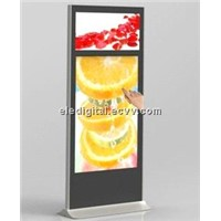 "55""+32"" dual monitor display,double screen kiosk,free standing advertising video display kiosk"
