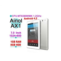 Ainol AX1 3g Quad Core Tablet PC 7 inch 1024x600 px MTK8389 Quad Core 1.2GHz Bluetooth GPs 8GB