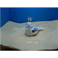 Ceramic Bird Figurines with Silver Crown