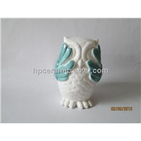 Ceramic Owl With Green Painting Effect