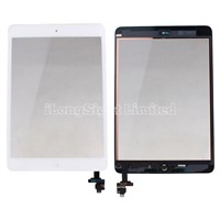 For iPad mini digitizer touch screen with IC Connector adn home button Assembly -White