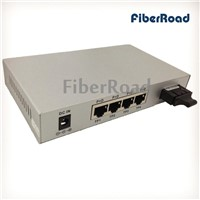 IEEE802.3af 15.4W SM 1310nm 1Fx+4Tp Gigabit POE Fiber Switch with 4-Port POE output