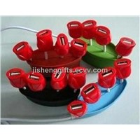 Red Rose Shape 4 Port USB Hub