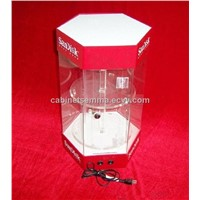 Rotating Watch Display Cabinet 2 Layers Bracelets Display Stand with LED Spot Lighting