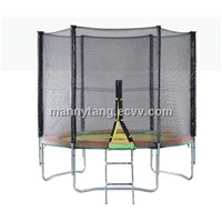 Traampoline with safety enclosure