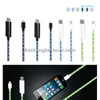 Visible Flowing Phone Cable for Apple IPhone Smart Phone Micro USB
