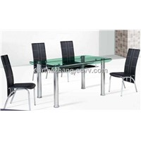 bent glass dining table and chairs xydt-249 & xydc-153