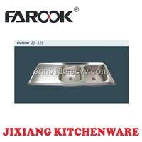 double bowl single tray stainless steel sink