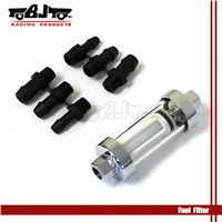 new style chrome plated clear view glass fuel filter with plastic abarbed end for car and motorcycle