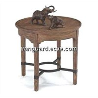 OAK Wooden/Veneer /Metal Round Table
