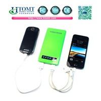 5000mAh Ultra-Thin Mobile Power Bank/Dual USB Outputs Portable Power Bank