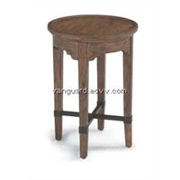 OAK Wooden/Veneer/Metal Recaimed Accent Table