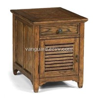 OAK Wooden/Veneer/Metal Storage End Table