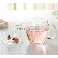 high quality borosilciate  glass tea cups with filter