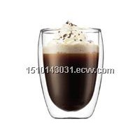 high quality double wall glass drinking cup
