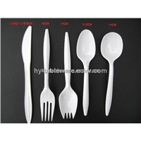 2.5g plastic disposable cutlery (fork, knife, spork, teaspoon ,soupspoon)
