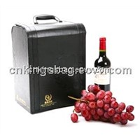 Classic Black Color PU Leather Wine Bottle Box,Leather Wine Carrier Bag(6 Wine Bottles Box)